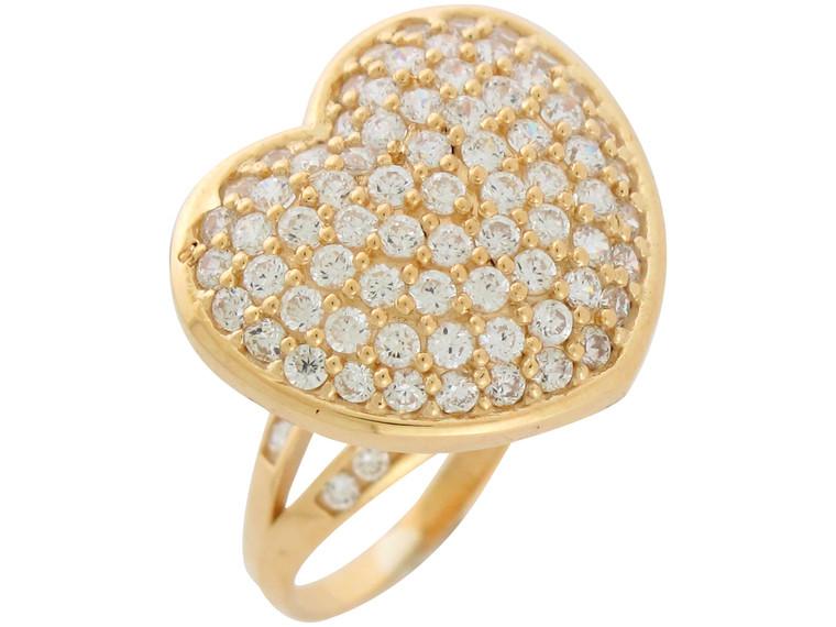 Gold Ladies Magnificent Huge Pave Set Heart Cocktail Ring (JL#10937)