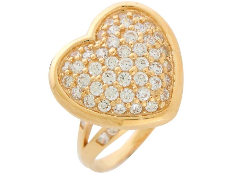 Gold Ladies Magnificent Big Pave Set Heart Cocktail Ring (JL#10938)