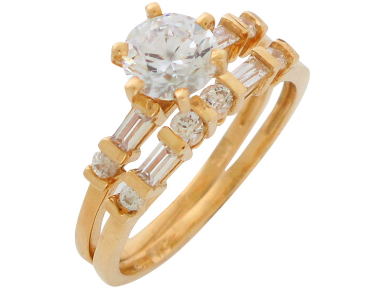 Gold Ladies Fancy Accented Thin Band Ring Wedding Duo (JL#10940)