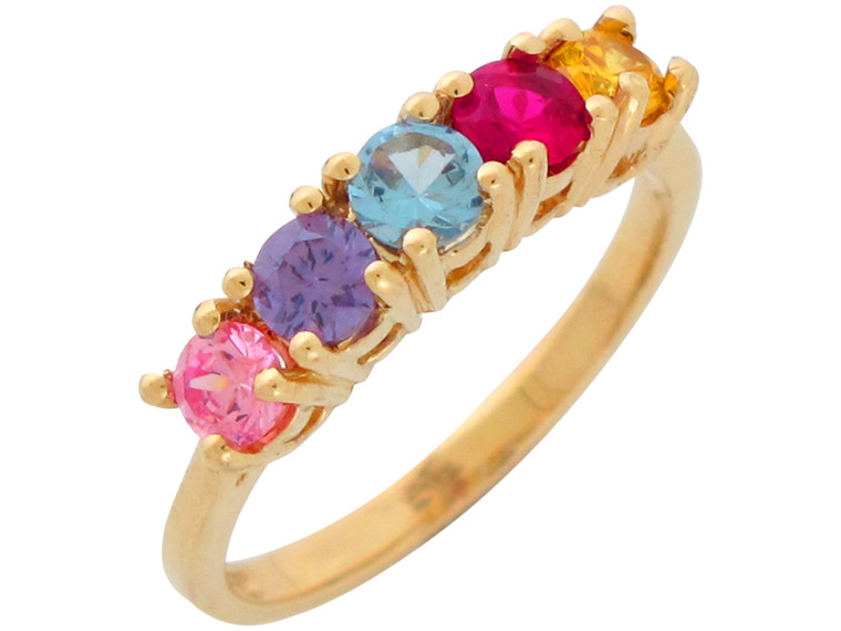Ladies Multi Color CZ Accented Five Stone Mothers Ring (JL#10942)