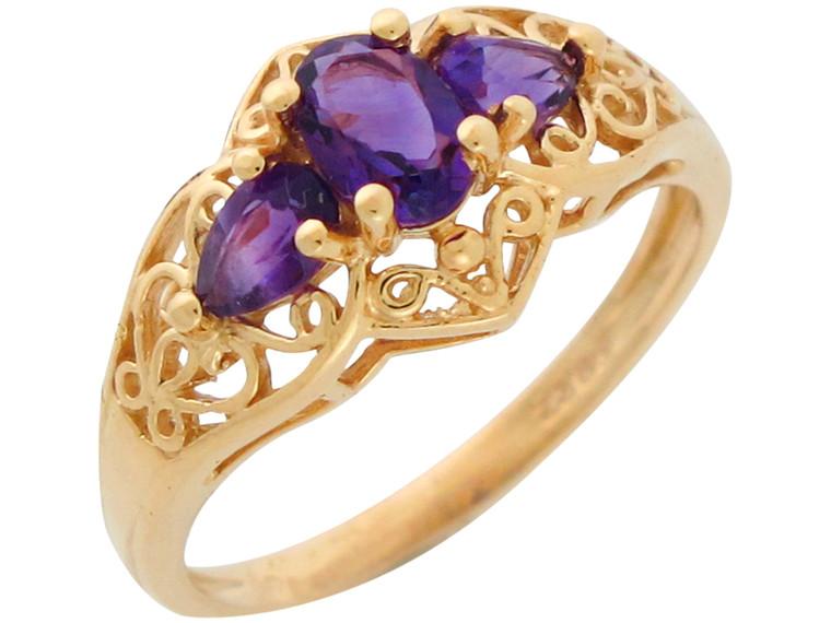 Natural Set Three Stone Gorgeous Filigree Ring (JL#10949)