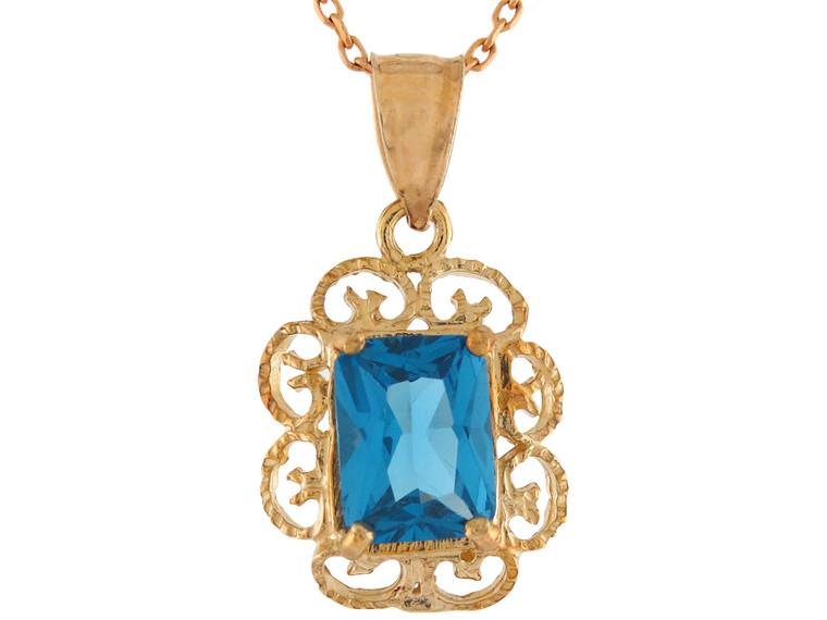 Gold Ladies Vintage Look Filigree Pendant (JL#10918)