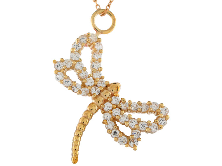 Stunning Accented Ladies Cute Dragonfly Pendant (JL#10919)