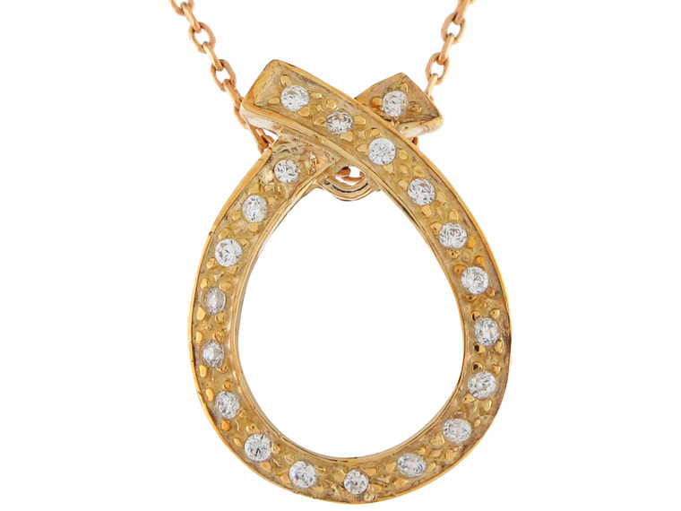 Gold Beautiful Accented Contemporary Design Circle Pendant (JL#10921)