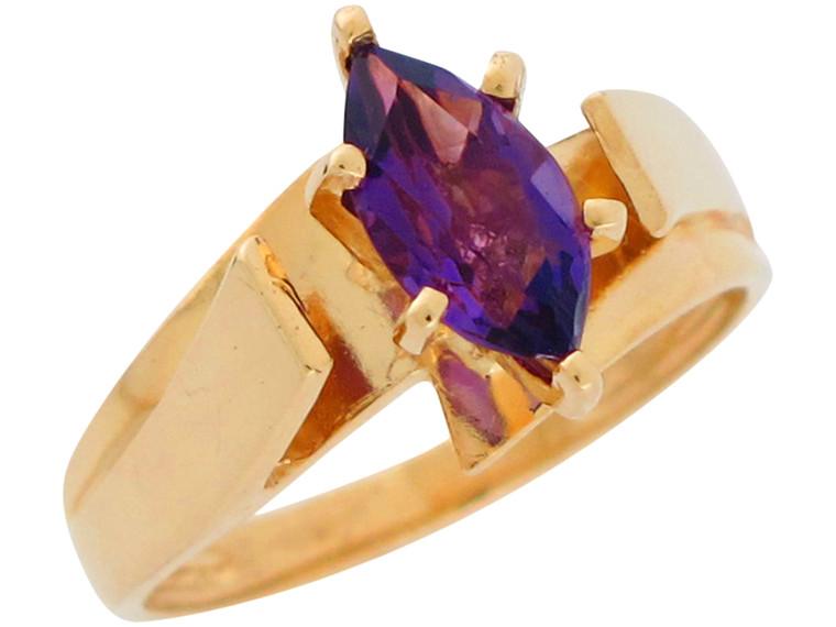 Gold Ladies Prong Set Genuine Unique Modern Design Ring (JL#10989)