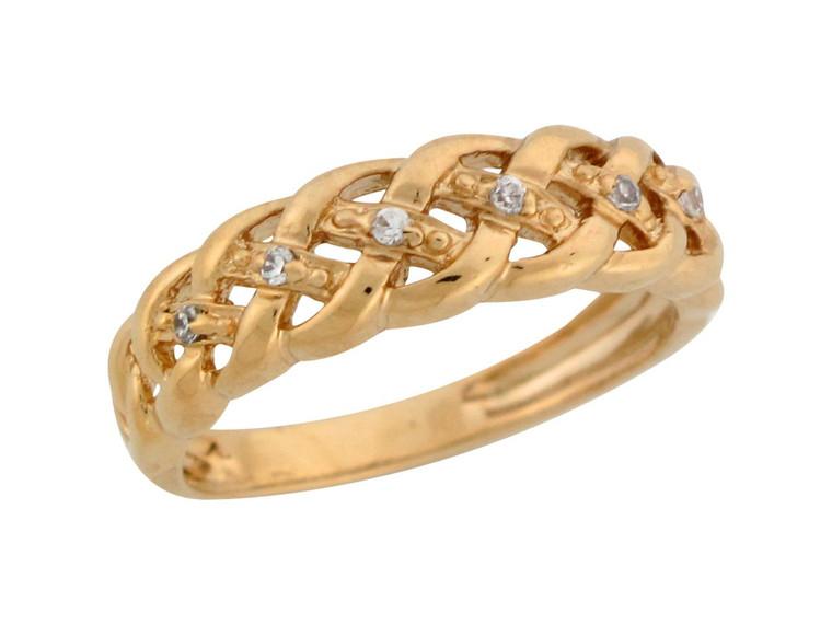 Round Gemstone Woven Band Design Ladies Anniversary Ring (JL# R7595)