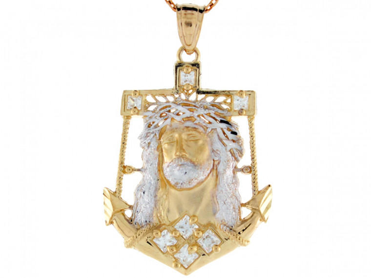Two-Tone Yellow and CZ Jesus Head Anchor Pendant (JL# P3273)