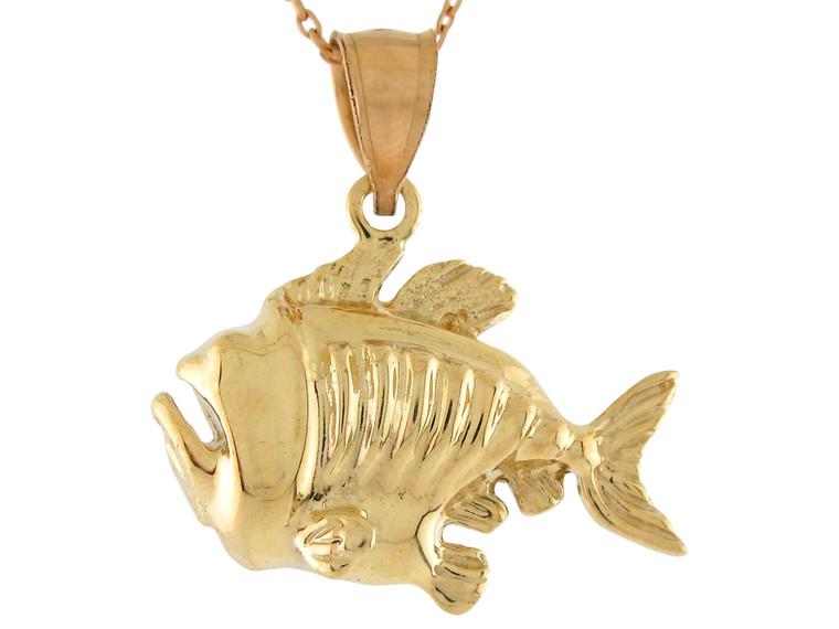 High Polish Sea Life Fishing Awesome Fish Design Pendant (JL# P10731)