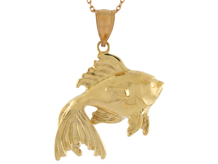 High Polish Sea Life Fishing Goldfish Design Pendant (JL# P10734)
