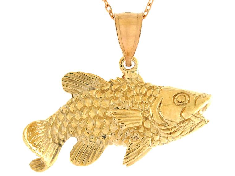 Polished Sea Life Fishing Open Mouth Design Fish Pendant (JL# P10735)