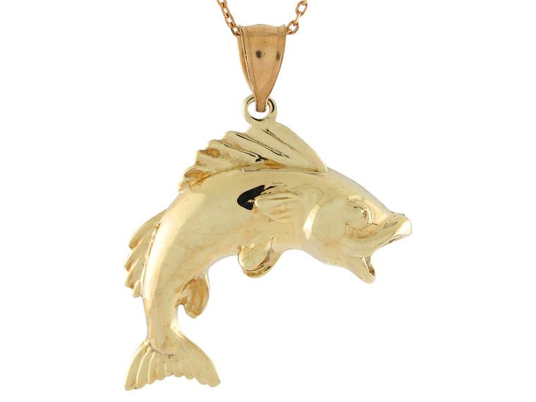 Sea Life Fishing Classic Open Mouth Fish Design Pendant (JL# P10739)