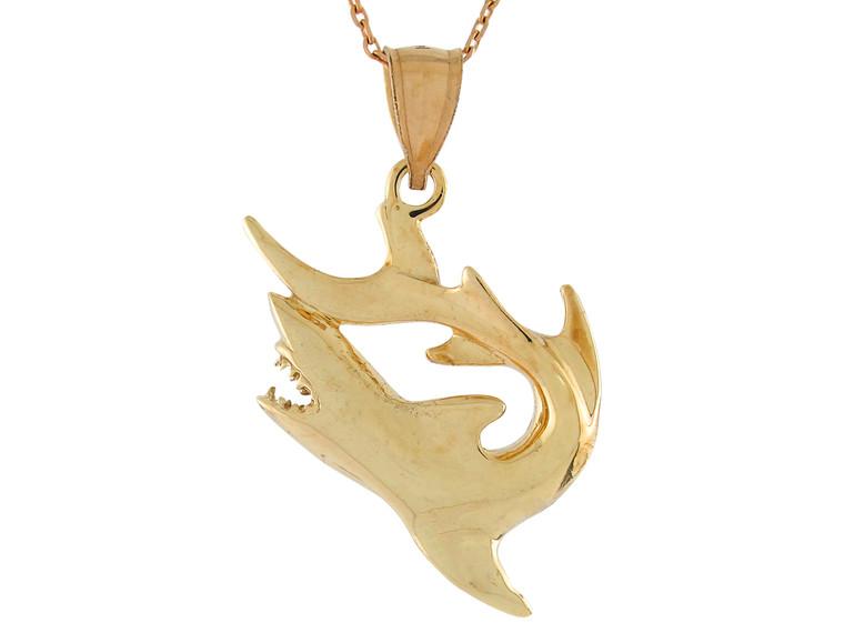High Polish Sea Life Fishing Cool Shark Design Pendant (JL# P10748)