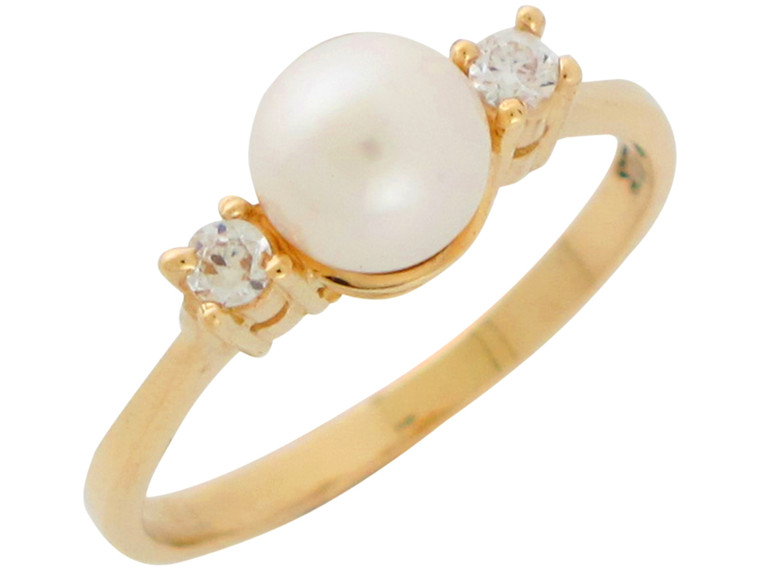 Ladies Gorgeous Cultured Freshwater and CZ Ring (JL# R10846)