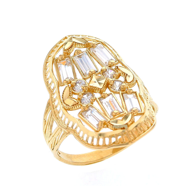 Beautiful Filigree Baguette and Round CZ Ladies Ring (JL# R12204)
