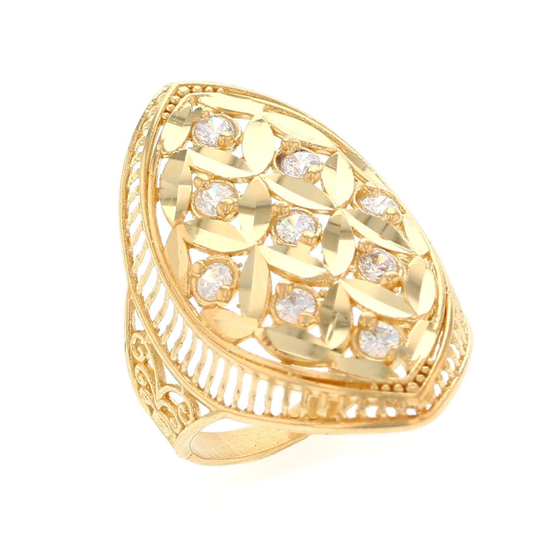 Stunning Round White CZ Accented Ladies Wide Ring (JL# R12205)