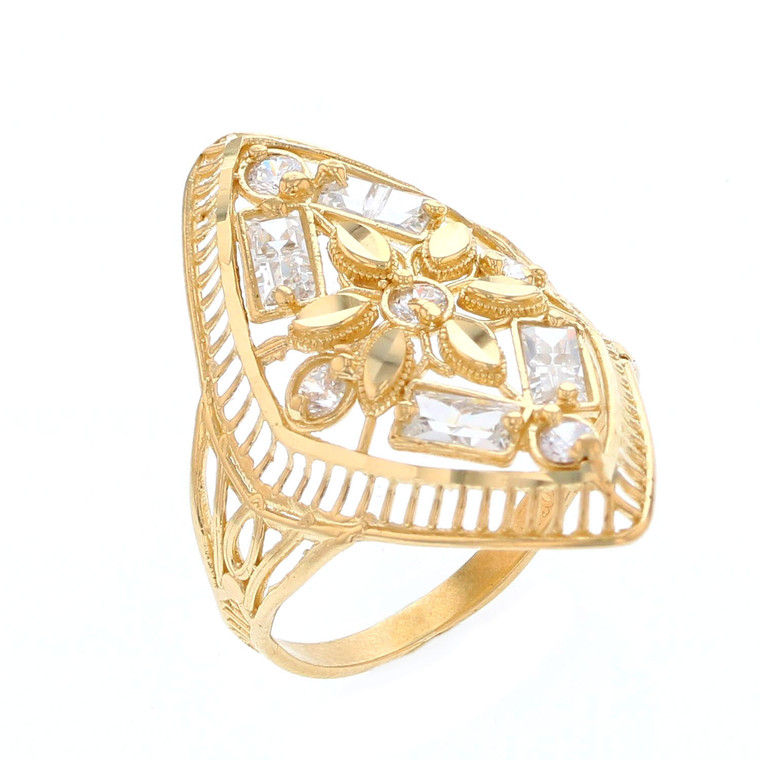 Baguette and Round White CZ Accented Ladies Floral Ring (JL# R12206)