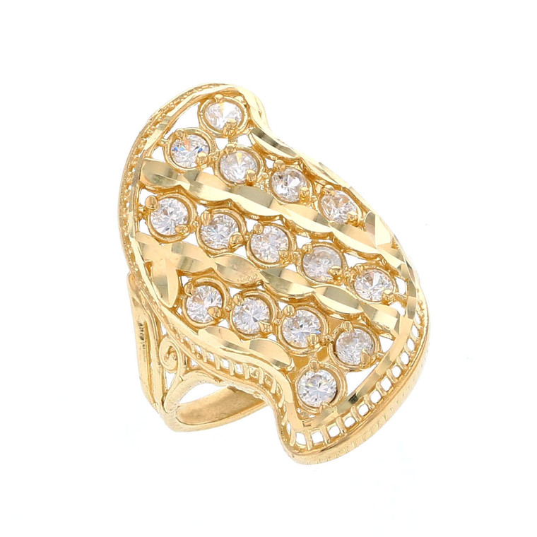 Beautiful Mutiple Row Round White CZ Accented Ladies Ring (JL# R12208)