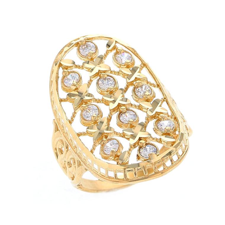 Magnificent Grid Design White CZ Accented Ladies Diamond Cut Ring (JL# R12209)