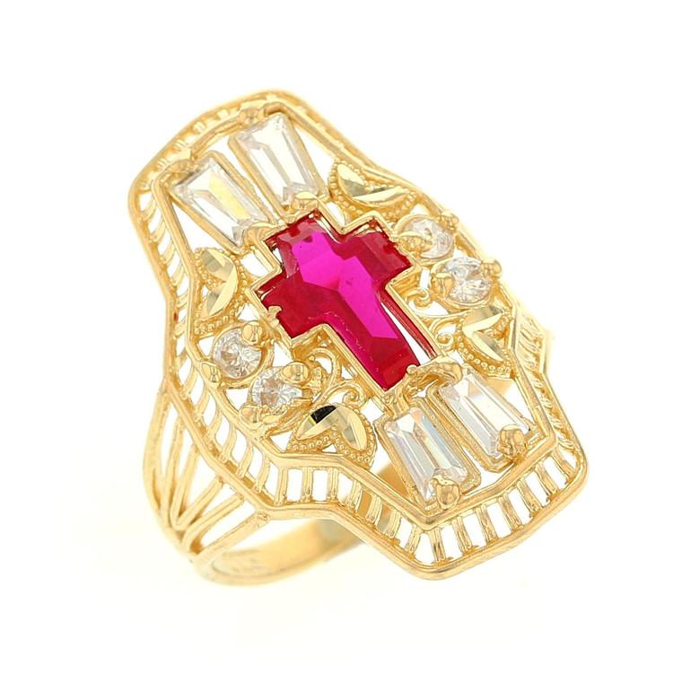 Religious Simulated Ruby Cross Set Ladies Filigree Ring (JL# R12210)