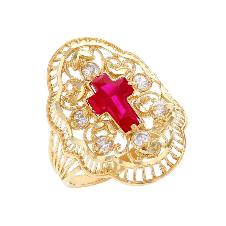 Religious Simulated Ruby Cross Accented Ladies Wide Ring (JL# R12213)