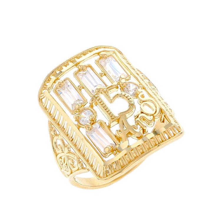 Unique Filigree Design Quince Años White CZ Accented Ring (JL# R12215)