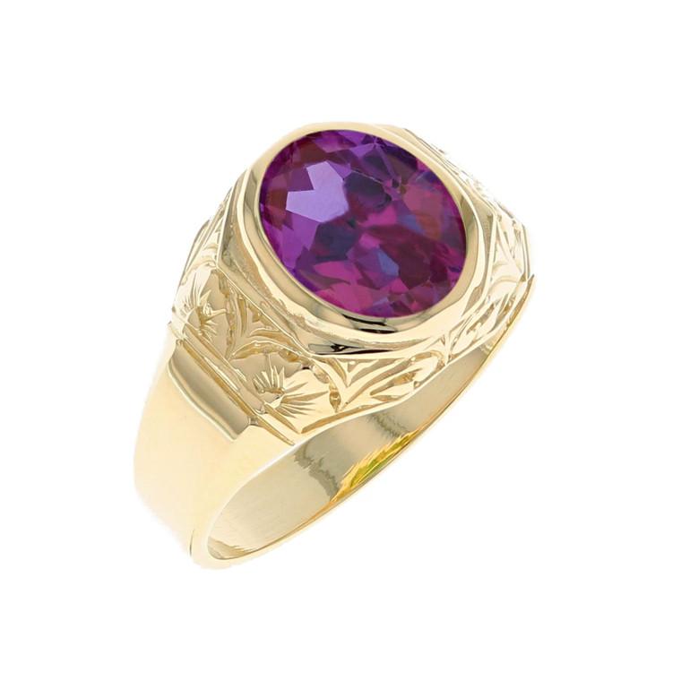 Majestic Simulated Birthstone Mens Stunning Design Ring (JL# R12229)