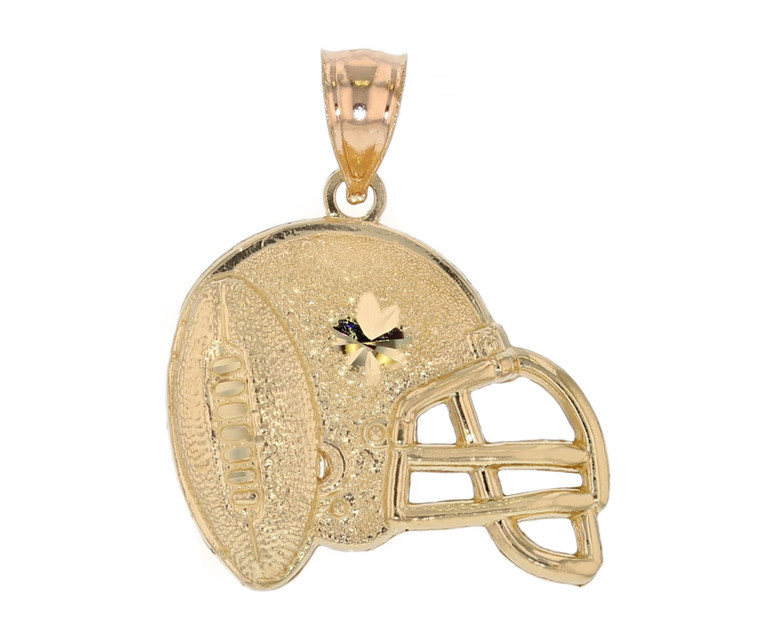 Solid American Football Helmet Sports Diamond Cut Pendant (JL# P12031)