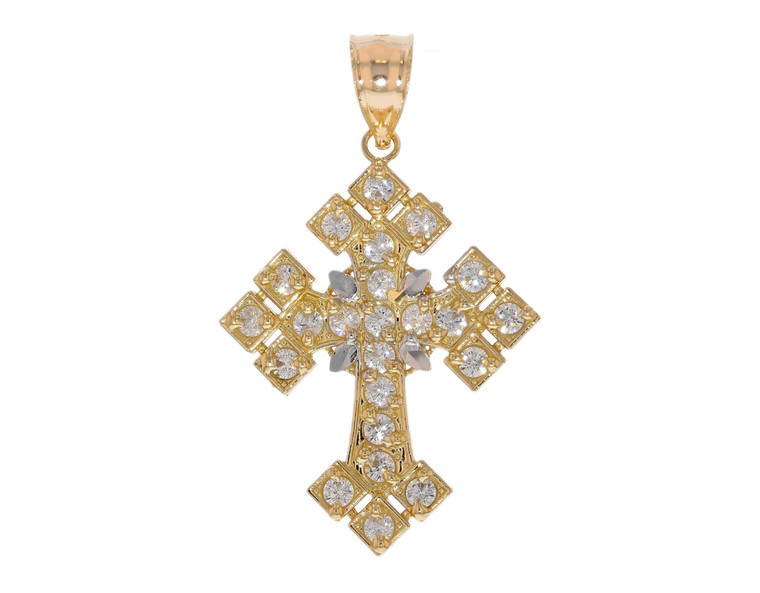 Stunning CZ set Filigree Fancy Diamond Cut Cross Pendant (JL# P12113)