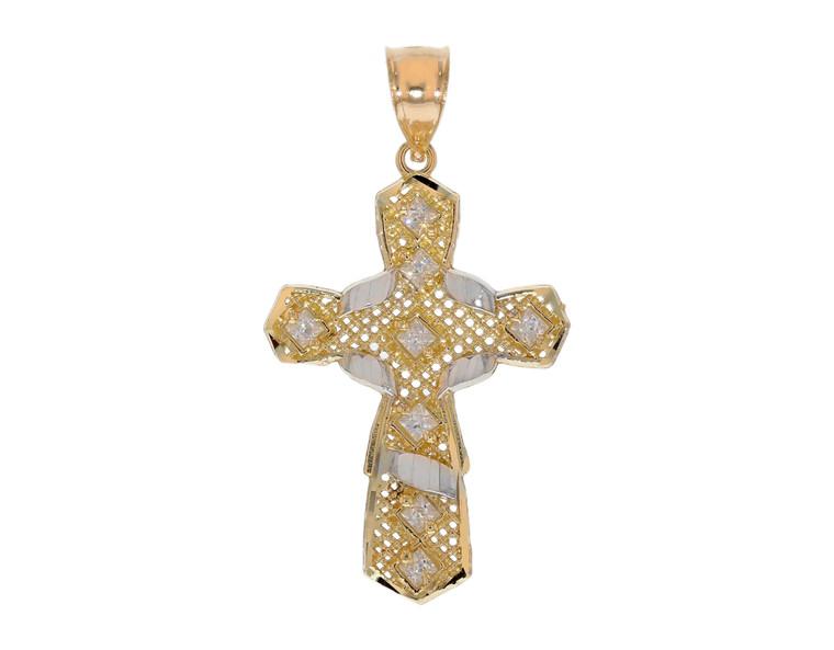Dazzling CZ Set Diamond Cut Filigree Fancy Cross Pendant (JL# P12112)