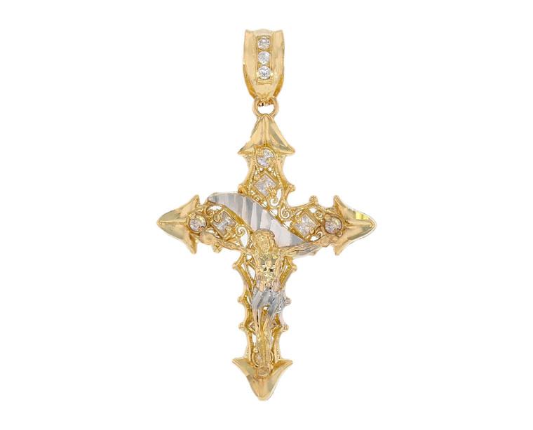 Shimmering CZ Set Diamond Cut Filigree Fancy Cross Crucifix Pendant (JL# P12063)