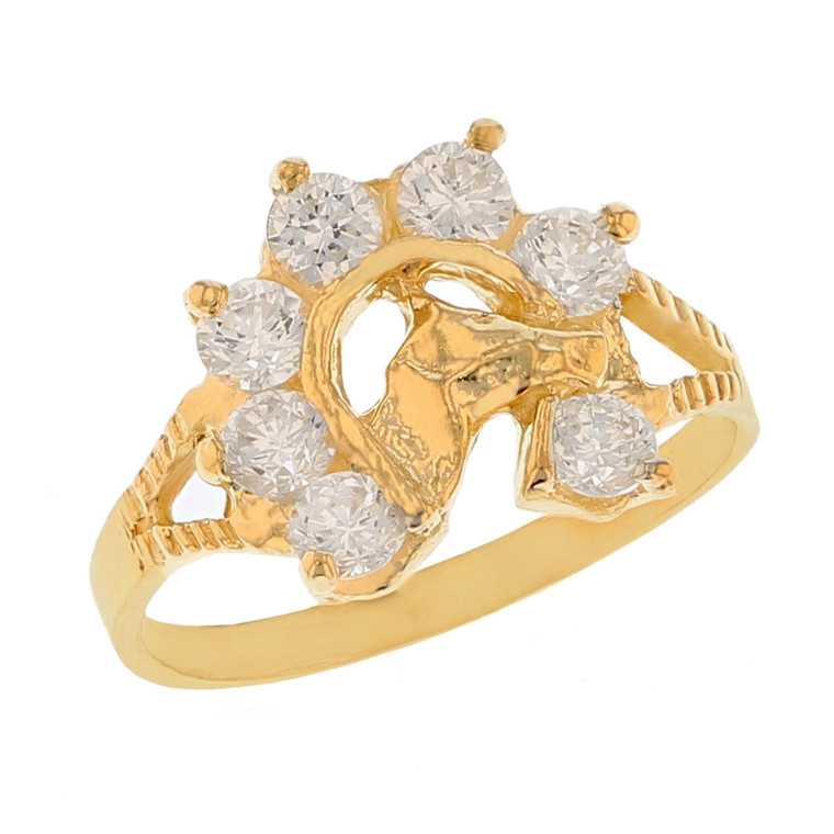 Lucky Horseshoe Brillaint White CZ Accented Split Shank Baby Ring (JL# R11576)