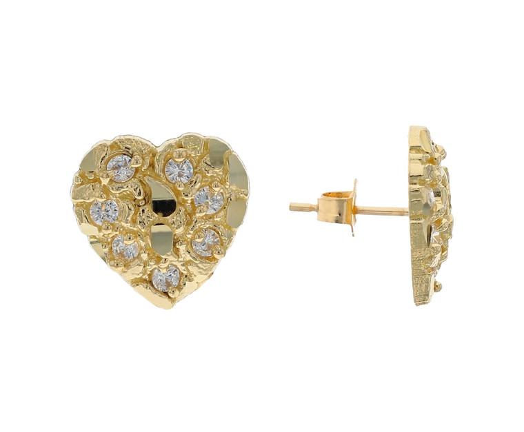 Dazzling Diamond Cut Heart Shape Nugget Design CZ Accented Earrings (JL# E12195)