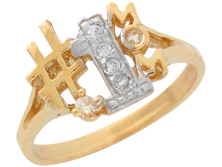 Beautiful Natural Diamond Accented Number One Mom Ring (JL# R11280)