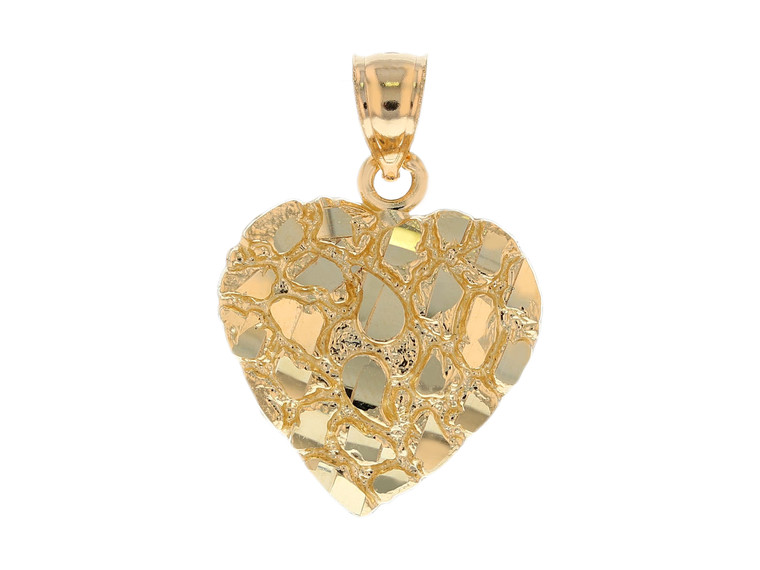Dazzling Diamond Cut Heart Gold Nugget Pendant (JL# P11997)