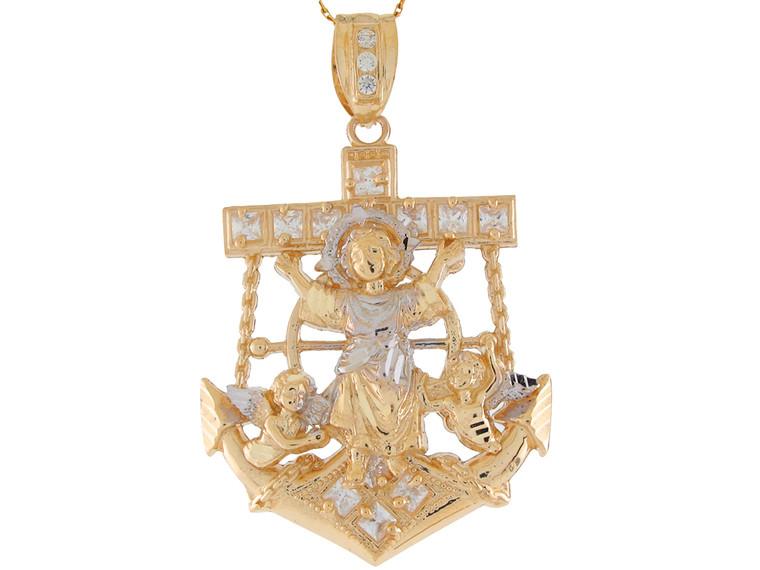 Accented Baby Niño Jesus Mariners Cross Anchor Pendant (JL# P11278)