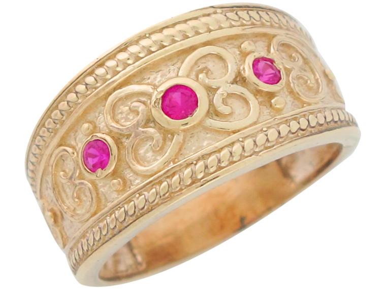 Real Accented Ladies Wide Top Filigree Elegant Ring (JL# R11116)