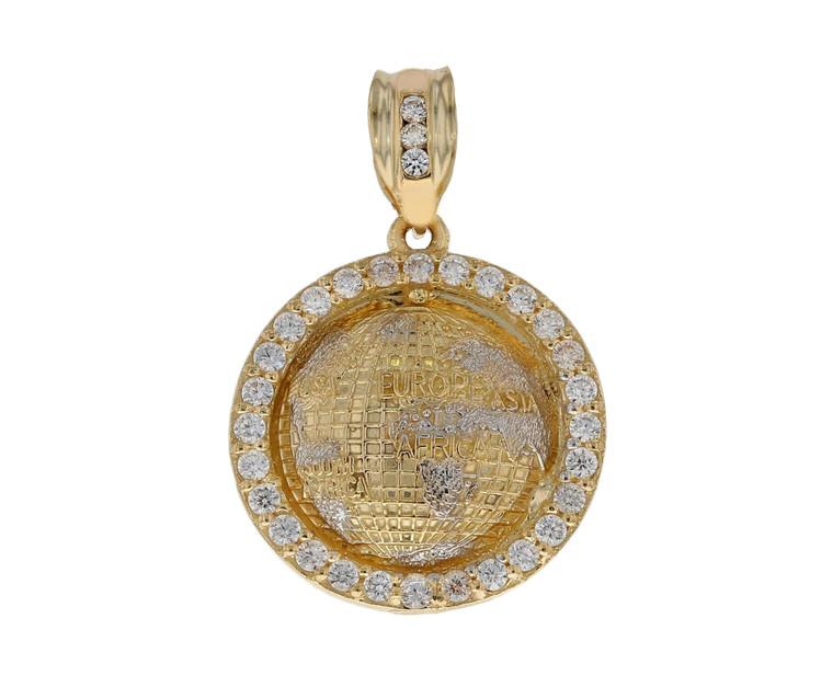 Impressive World Globe CZ Accented Hand Finished Diamond Cut Pendant (JL# P12197)