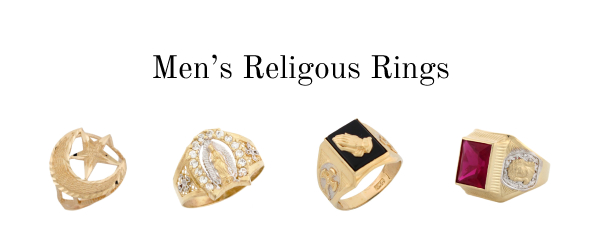 Religious rings for men - Christian, Jewish, Guadalupe