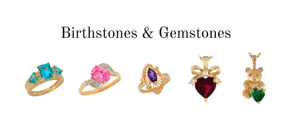 Birthstone and gemstone rings, pendants, and more.
