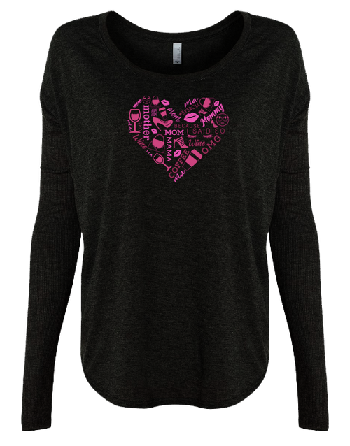 Pink Heart Collage Ladies Long Sleeve