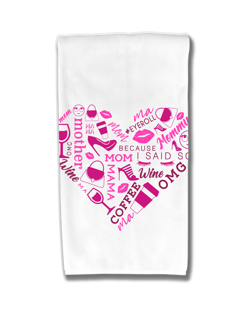 Pink Heart Collage Kitchen Towel