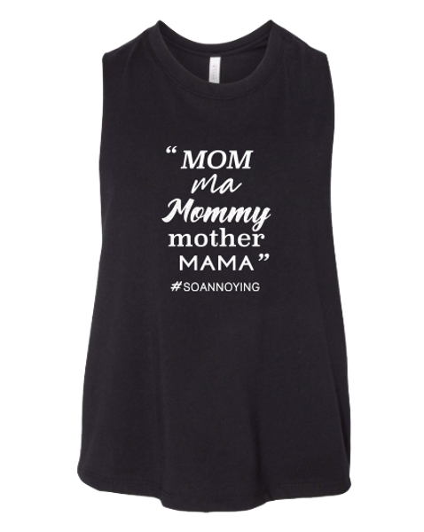 Mom Ma Mommy Mother Cropped Tank Top