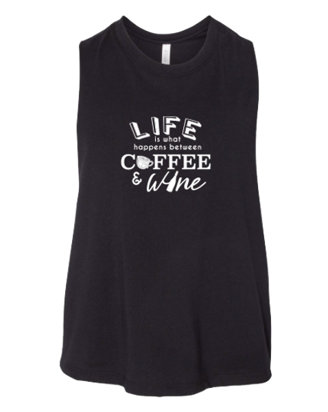 Life Between Coffee & Wine Cropped Tank Top
