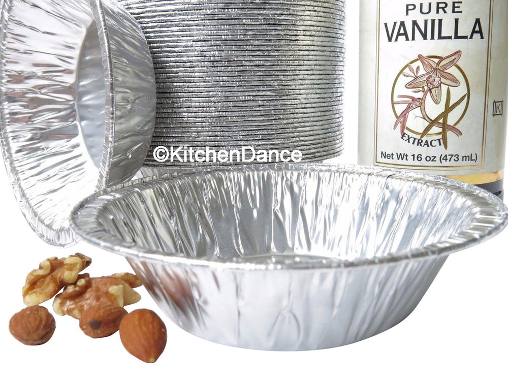 "disposable aluminum foil 5"" tart pan, pie pan, pie tin individual serving size, small baking pans"