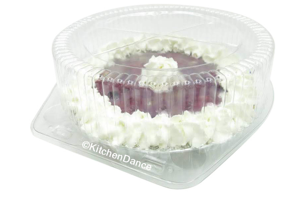 """8"""" pie container - clear plastic clamshell - high dome"""