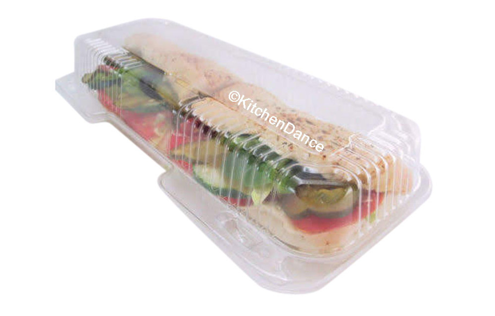"""plastic sandwich / Danish container, 12"""" long food container"""