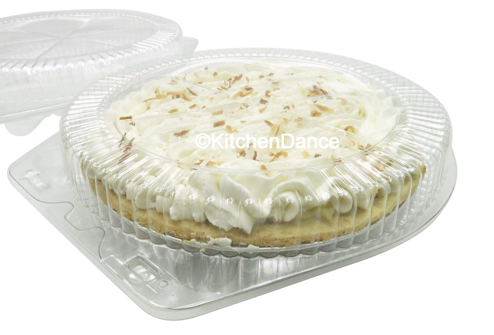 "9"" pie container - clear plastic clamshell"