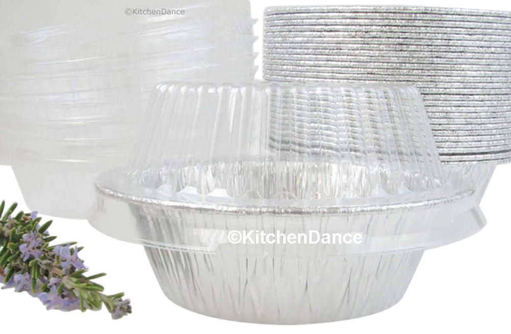 "disposable aluminum foil 5¾"" pot pie pan with dome lid - extra deep"