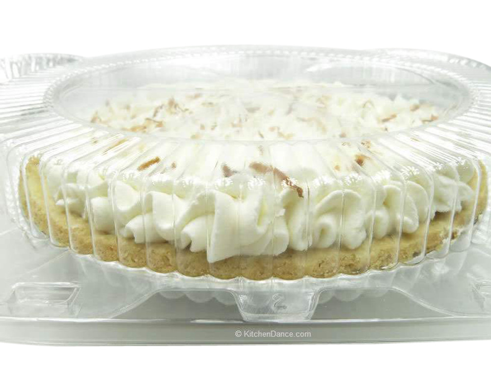 "10"" pie container - clear plastic clamshell - low dome"