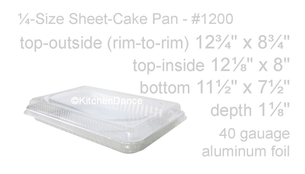 disposable aluminum foil a ¼ size sheet cake pan, baking pan with plastic lid